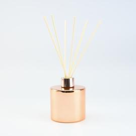 Set Groot Parfumflesje Rond + geurstokjes | Rosé met Rosékleurige Dop - 200 ml