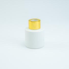 Parfumflesje Rond - Wit met Goudkleurige Dop - 50 ml