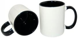 Zwarte 11 oz. Mok Wit met gekleurde binnenkant & oor - AA Kwaliteit