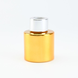 Parfumflesje Rond - Goud met Zilverkleurige Dop - 50 ml