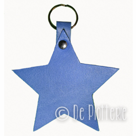 Leren sleutelhanger  'Ster' - Blauw
