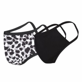 Mondkapje / Mondmasker  Dames - Leopard / Zwart - Maat S - per 2 stuks