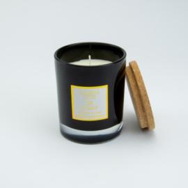 Geurkaars | Zwart Glas met deksel van Kurk | Cederhout geur | Medium