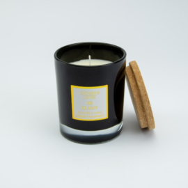 Geurkaars Middel - Zwart glas met een deksel van kurk - Cederhout geur