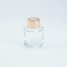 Parfumflesje Rond - Transparant met Rosékleurige Dop - 50 ml