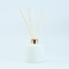 Set Groot Parfumflesje Rond + geurstokjes | Wit met Rosékleurige Dop - 200 ml
