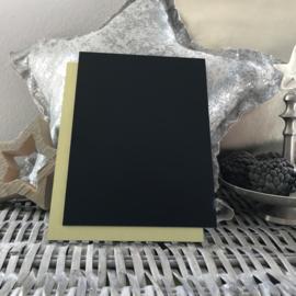 Blanco Naambordje - Zwart met RVS Look Goud Achterplaat - 15 * 20 cm