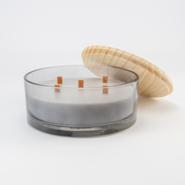 Superdeluxe Geurkaars met Houten Deksel | Grijs getint Glas | Berry & Laurel geur | Medium