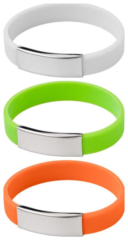 Siliconen SOS-naambandje met metalen plaatje - 3 kleuren leverbaar!