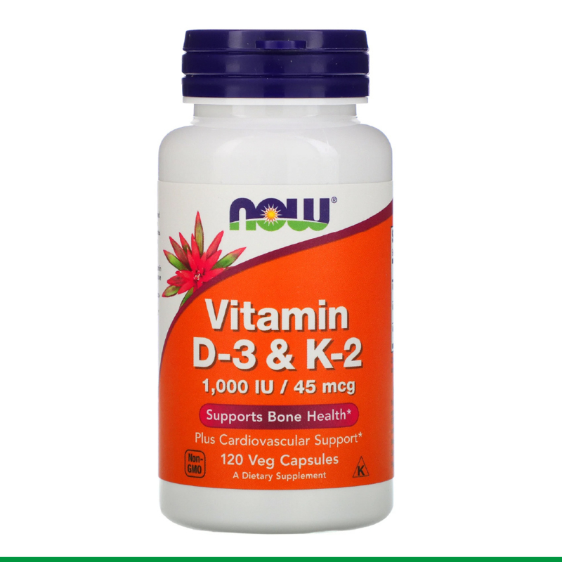NOW Vitamine D3 & K2 120 Veg Capsules