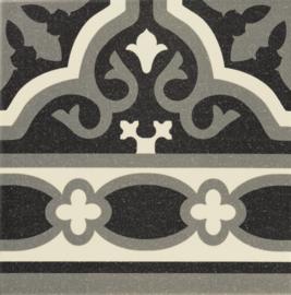 Florentine Black Cenefa 20x20cm