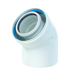 Ubbink Rolux PP120/aluminium  bocht 45° Ø 60/100