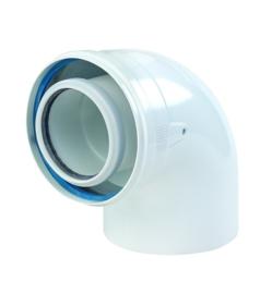 Ubbink Rolux PP120/metaal wit  bocht 87° Ø 60/100