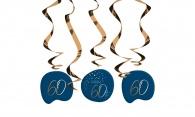 Hangdecoratie Elegant True Blue 60 jaar 5stuks