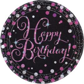 Papieren borden Sparkling Pink Happy Birthday / 8 stuks