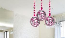 Hangdecoratie Sweet 16 /3st