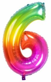 Cijfer 6  Regenboog 81cm