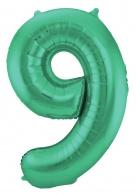 Groen Metallic Mat Folie Ballon Nummer 9-86 cm