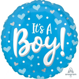 It's A Boy Hearts & Dots - Blue -45cm Art.nr: 41426