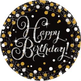 Papieren borden Sparkling Gold Happy Birthday / 8 stuks