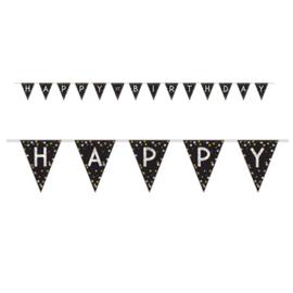 Vlaggenlijn, Slinger Sparkling Gold Happy ..  Birthday / 4mtr