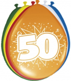 Fltx ballonnen 12inch/30cm 50 jaar /8st