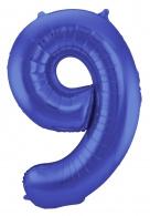 Blauw Metallic Mat Folie Ballon Nummer 9-86 cm