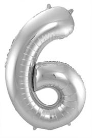 Cijfer 6 Zilver 86cm