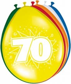 Fltx ballonnen 12inch/30cm 70 Jaar /8st