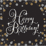 Servetten Sparkling Gold Happy Birthday