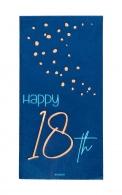 Servetten Happy 18th elegant true blue