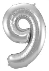Cijfer 9 Zilver 86cm