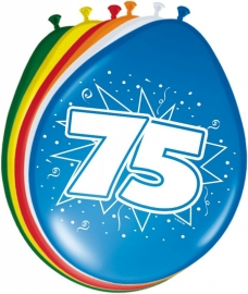 Fltx ballonnen 12inch/30cm 75 Jaar /8st