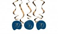 Hangdecoratie Elegant True Blue 70 jaar 5stuks