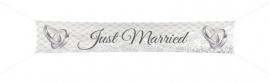 Banier / spandoek Just Married 360cm x 60cm