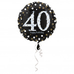 folieballon 40 jaar 43 cm  Sparkling Gold (wordt leeg geleverd)