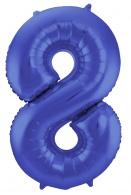 Blauw Metallic Mat Folie Ballon Nummer 8-86 cm