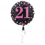folieballon 21  jaar 43 cm  Sparkling Pink (wordt leeg geleverd)