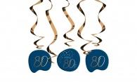 Hangdecoratie Elegant True Blue 80 jaar 5stuks