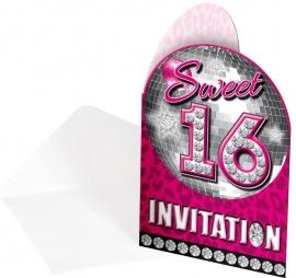 Uitnodigingen Sweet 16 / 8st