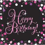 Servetten Sparkling Pink Happy Birthday