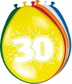 Fltx ballonnen 12inch/30cm 30 jaar /8st