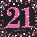 Servetten Sparkling Pink 21 jaar