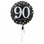 folieballon 90 jaar 43 cm  Sparkling Gold (wordt leeg geleverd)