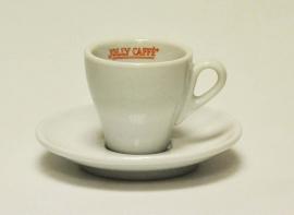 """Kop en schotel """"JollyCaffè"""" espresso wit"""