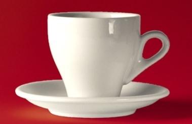 "Clubhouse espressokop/schotel wit  ""JollyCaffè"" (set van 6)"