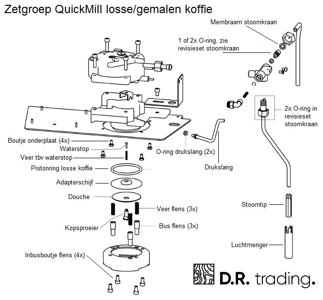 O-ring tbv drukslang in onderplaat (set van 2)