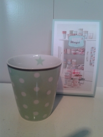 Happy Mug Mint groen stippen