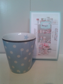 Happy mug Blauw stippen