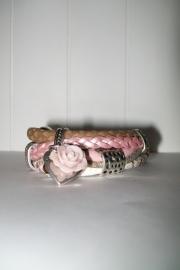 Armband leer roze/zand slangenprint enkel